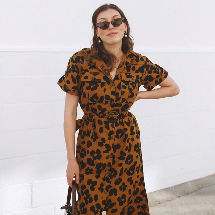 Who What Wear Leopard Belted Shirt Dress