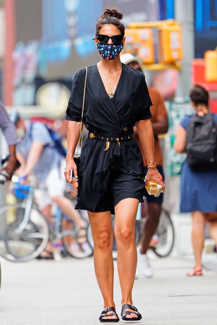 birkenstock arizona eva: katie holmes wearing black birkenstocks with a black dress