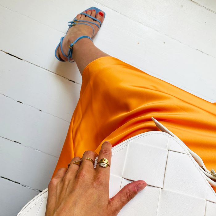 Blue Sandals Orange Dress Who What Wear Collection