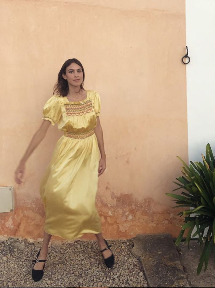 Celebrity outfits 2020: Alexa Chung in yellow satin dress