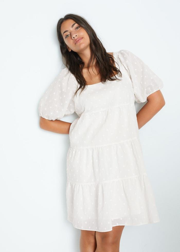 Mango Puffed Sleeves Plumeti Dress
