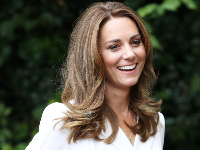 Kate Middleton Wore a Floral Face Mask With a White Dress