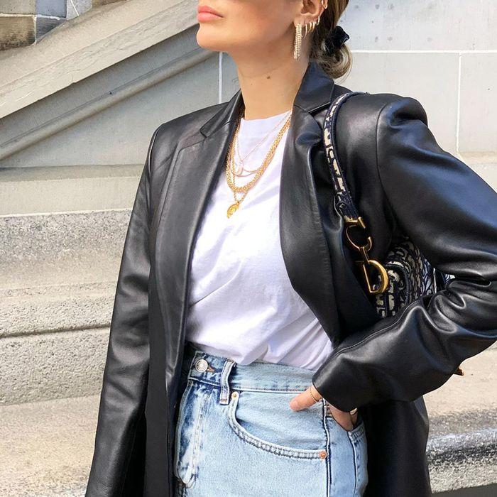 Best fall jackets for women: leather blazer