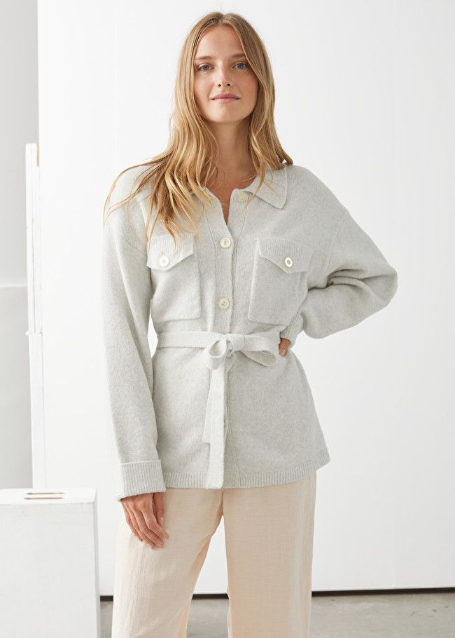 & Other Stories Oversized Belted Shirt Cardigan