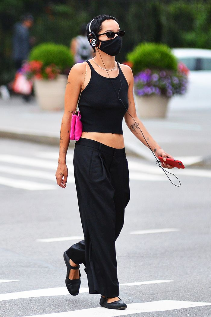 Zoe Kravitz low-rise pants
