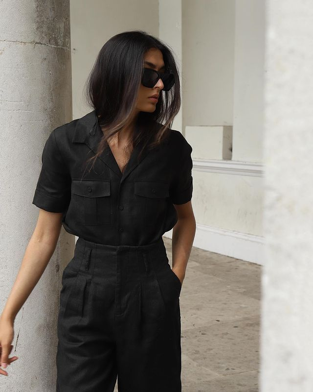 Marks And Spencer Trans-seasonal Shopping Edit: @y.a.t.r.i wears a black linen shirt and trousers