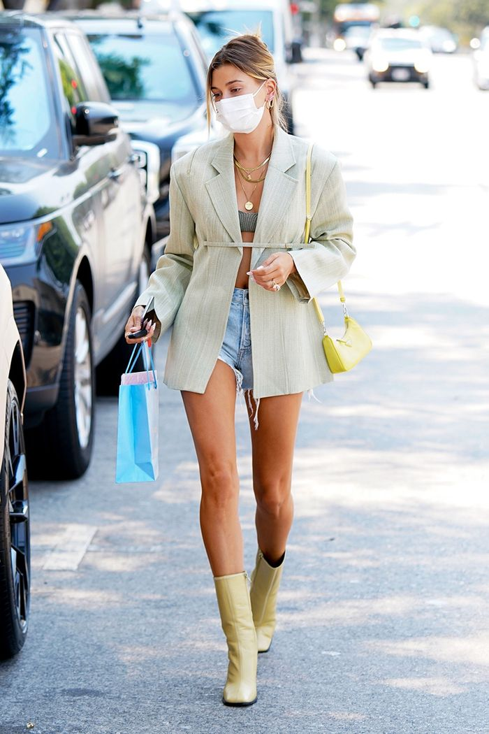 Hailey Bieber shorts and boots