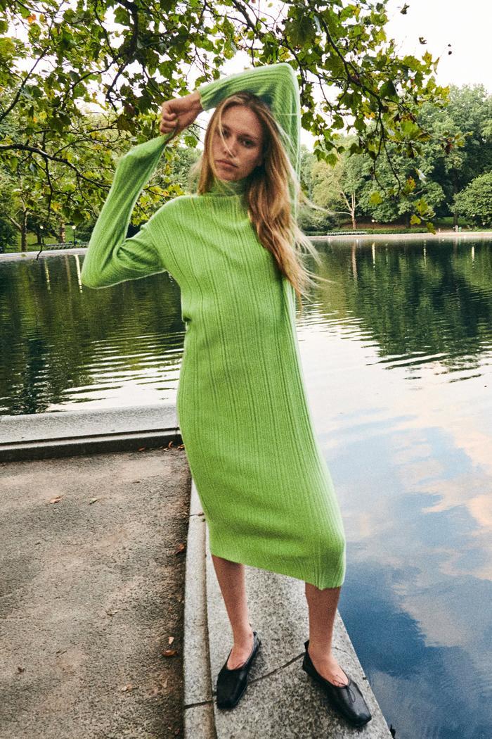 Zara High Neck Knit Dress