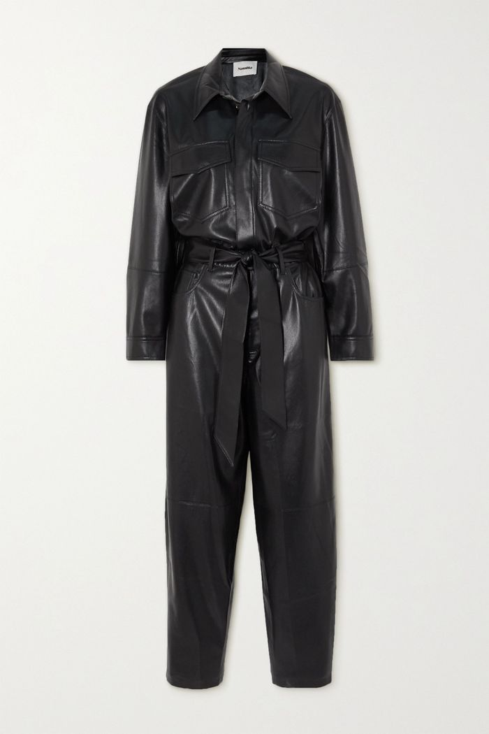 Nanushka Ashton Belted Vegan Leather Jumpsuit