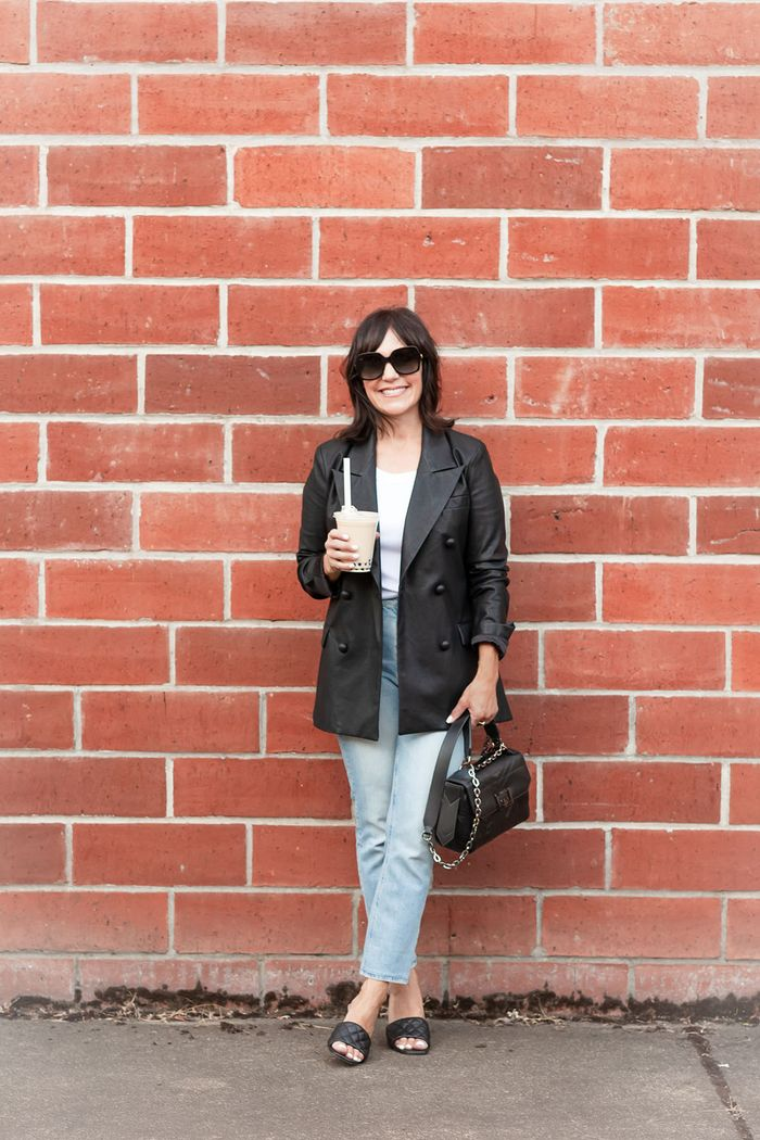 The fall basics a 55-year-old wears: leather blazer