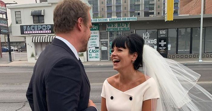 Lily Allen Just Married a Stranger Things Actor in a Cute Mini Dress