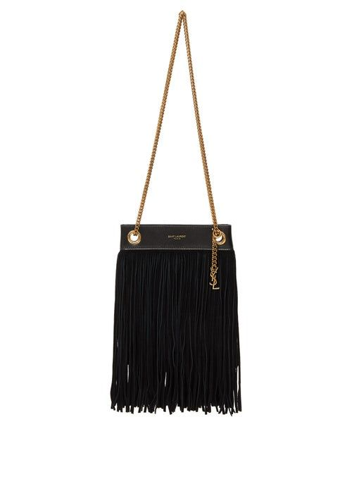 Saint Laurent Grace Suede-Fringed Leather Shoulder Bag