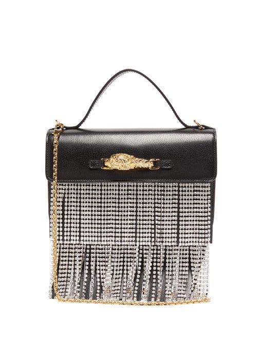 Gucci Broadway Crystal-Fringe Leather Shoulder Bag