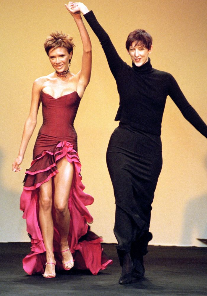 fashion week nostalgia: Victoria Beckham models for Maria Grachvogel during London Fashion Week, 2000.