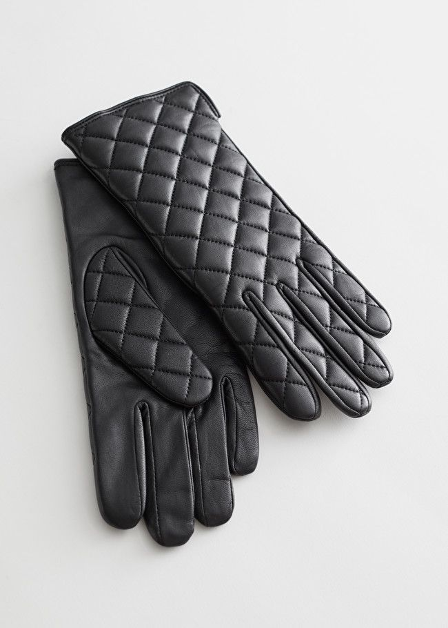 & Other Stories Quilted Leather Gloves