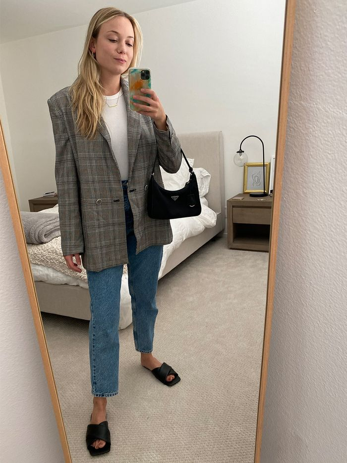 Plaid-blazer outfit
