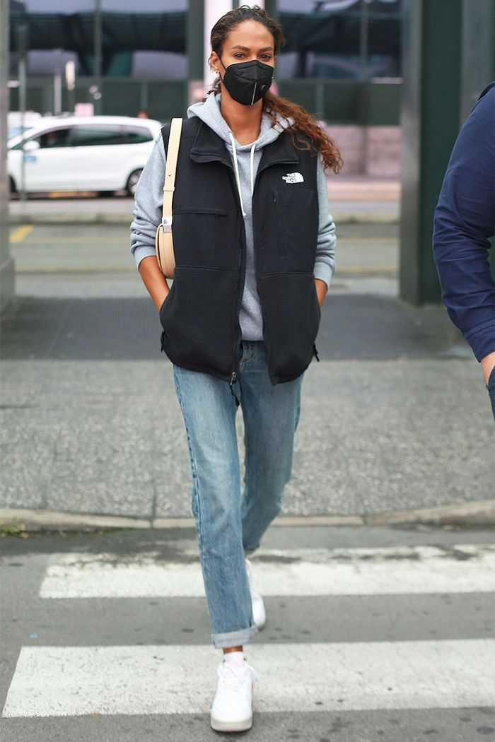 Joan Smalls wearing a The North Face vest