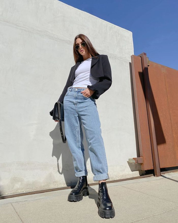 How to wear a cropped blazer with a white tee