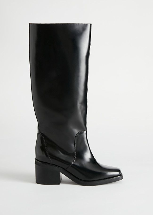 & Other Stories Square Toe Knee High Leather Boots