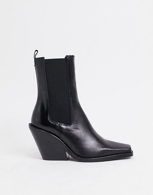 ASOS Design Rhea Premium Leather Western Boot in Black