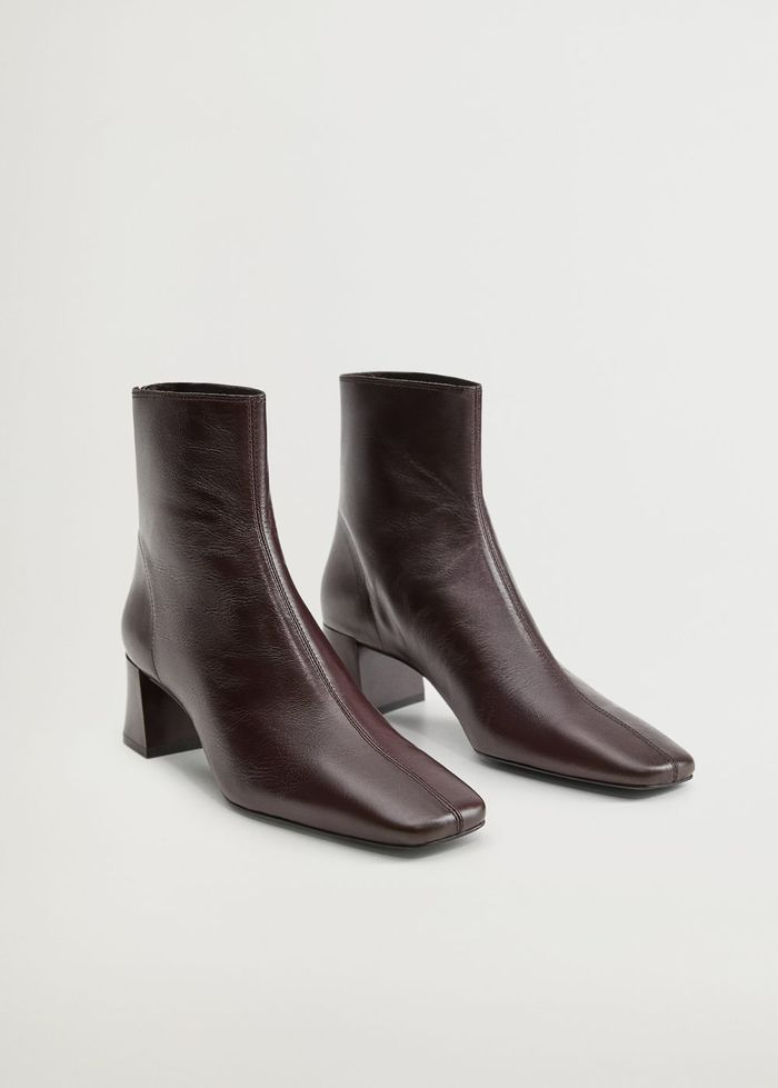 Mango Squared Toe Leather Ankle Boots