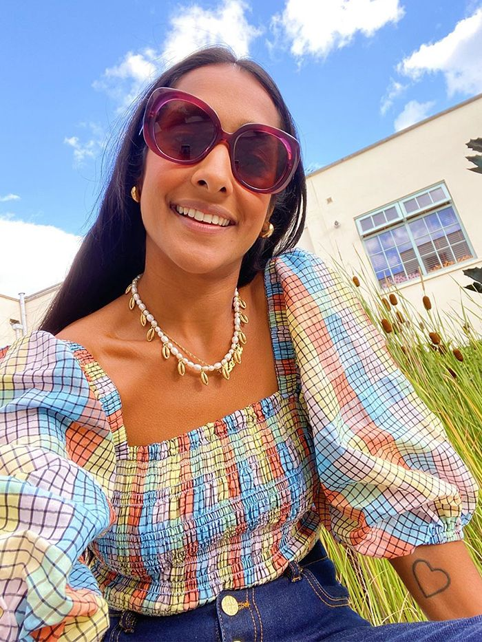 Colourful Check: Ganni Puff Sleeve Top