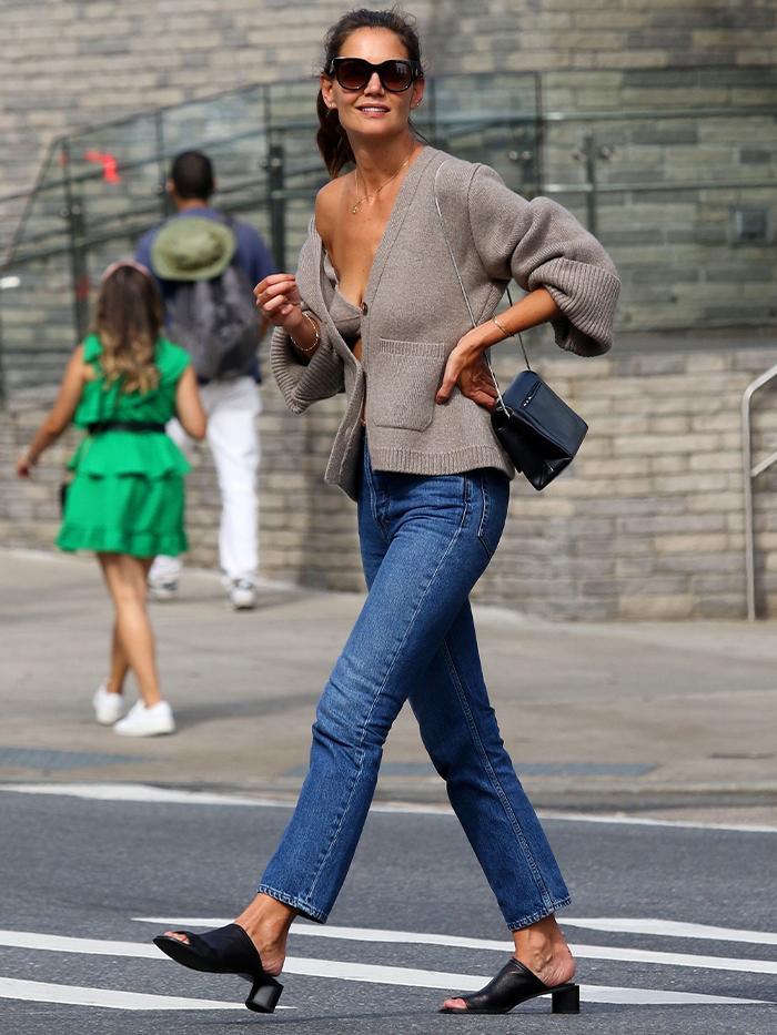 Cardigan Set Trend: Katie Holmes