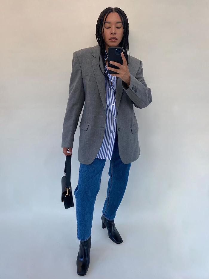 Jacket Outfit Ideas: blazer + shirt + jeans