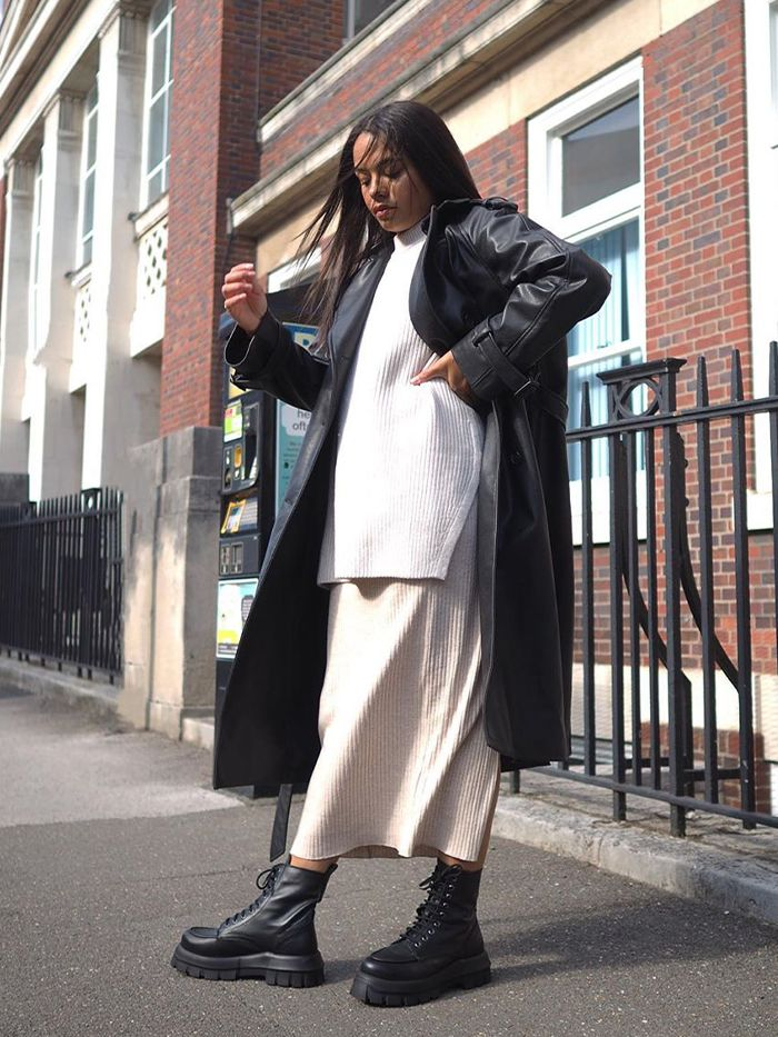 How to style a leather coat: Leather Trench Coat + Knitted Co-Ord