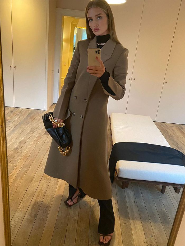 Rosie Huntington Whiteley Style: Bottega Veneta Coat