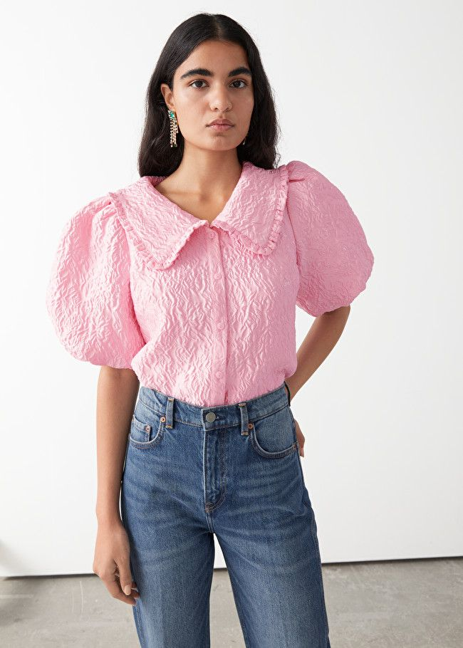 & Other Stories Textured Ruffle Collar Puff Sleeve Top
