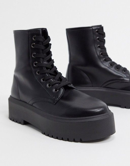 ASOS Design Attitude 2 Lace Up Chunky Boots