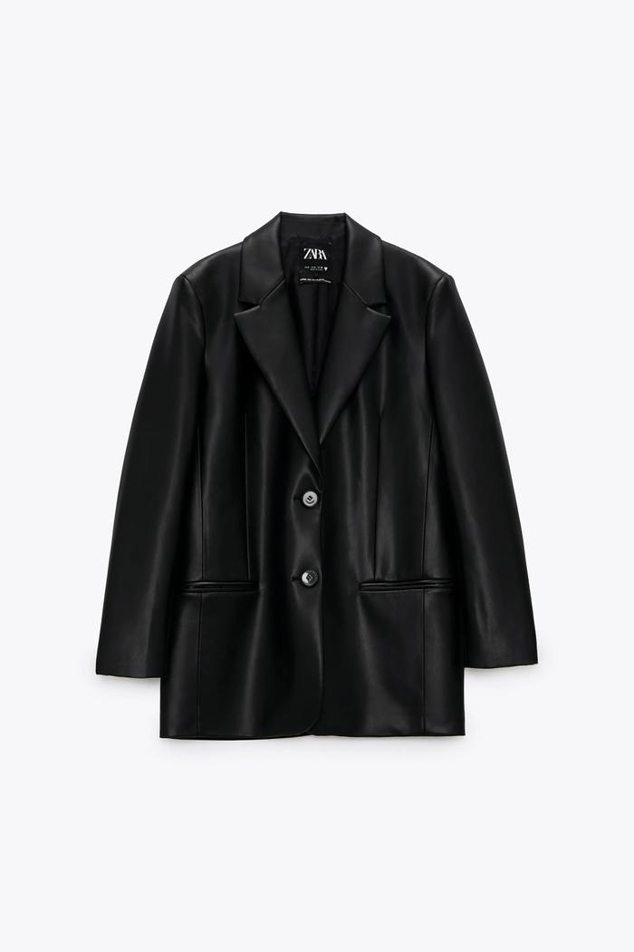 Zara Faux Leather Oversized Blazer