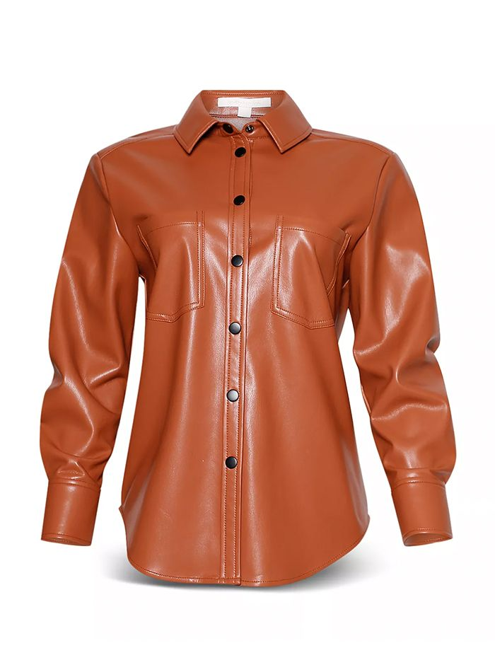 Jonathan Simkhai Vegan Leather Pleated Sleeve Shirt