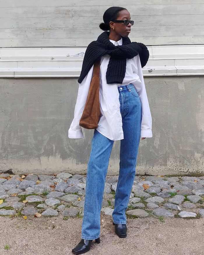 How to style a white shirt and sweater with jeans