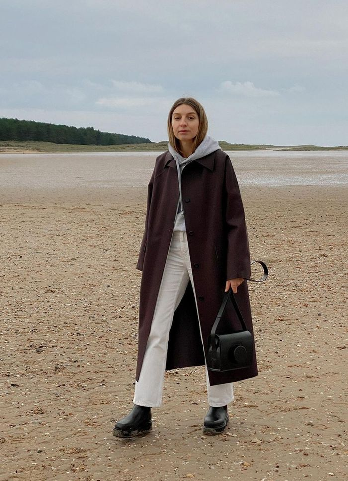 Warm winter outfits: Brittany Bathgate on a winter beach walk
