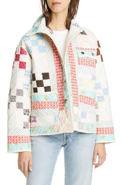 Blue Jacket Quilt Coat Floral Quilted Jacket Vintage Women/'s Quilted Jacket Quilt Jacket Women Quilted Jacket Blue Quilted Jacket