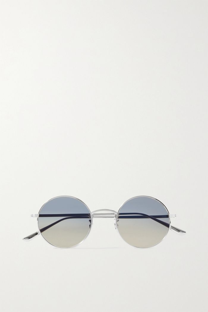 The Row x Oliver Peoples After Midnight Round-Frame Silver-Tone Sunglasses