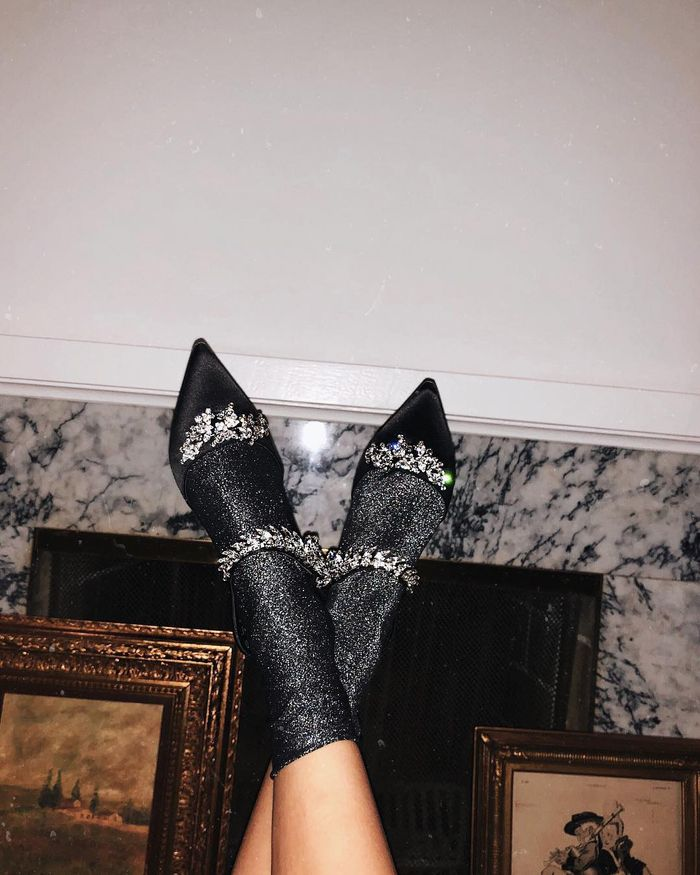 Christmas Gifts for Her: Aimee Song wears sparkly socks and jewel heels