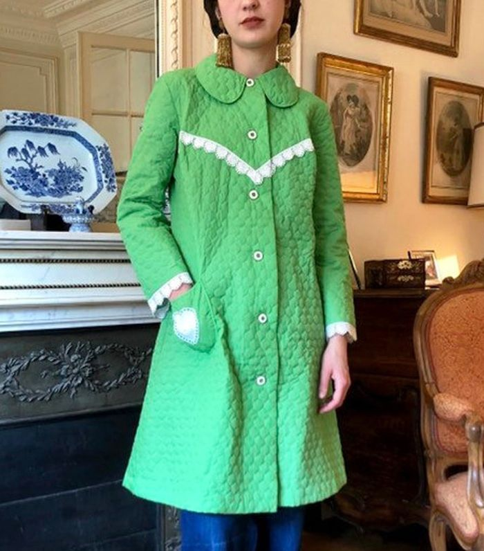Vintage 1960s Bright Green Quilted Cotton Robe Lightweight Coat Peter