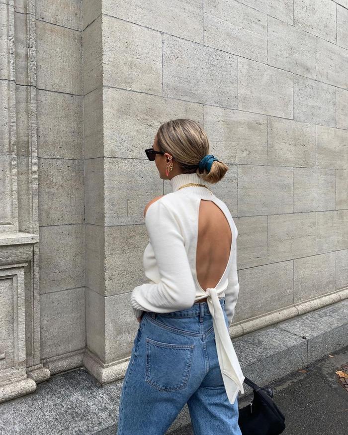 Trendier basics: open-back sweater