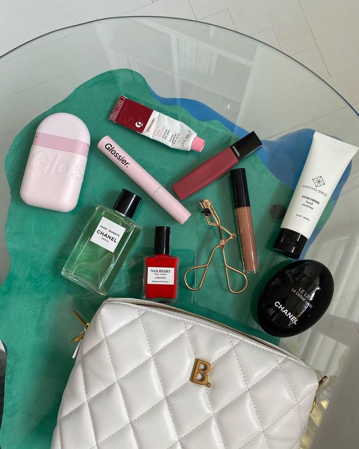 Stocking Fillers: Emili Sindlev creates a flatlay using the contents of her beauty bag