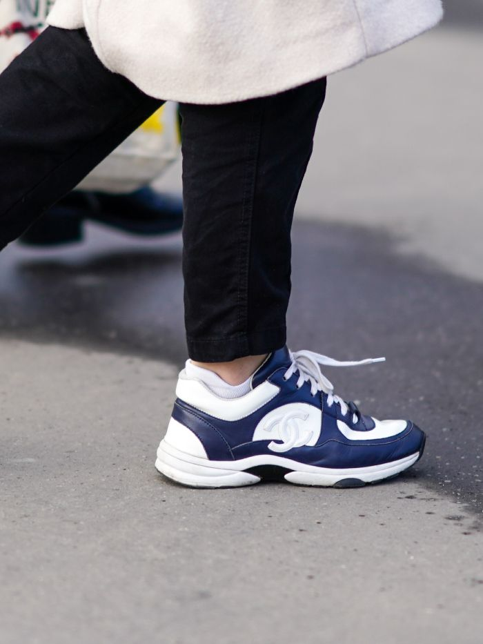 Trainer trends 2021: chanel sneakers in white and blue on street styler