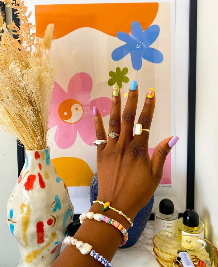 Nail Colour Trends 2021: Nnenna Echem wearing colourful nail