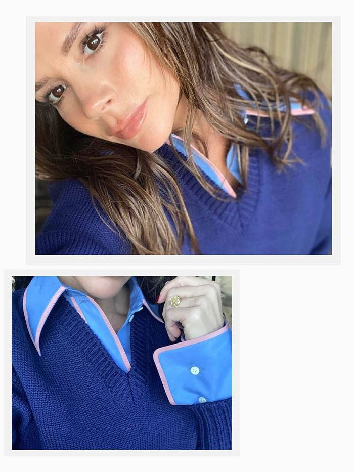 Victoria Beckham WFH Style: Button-down shirt + V-Neck Knit