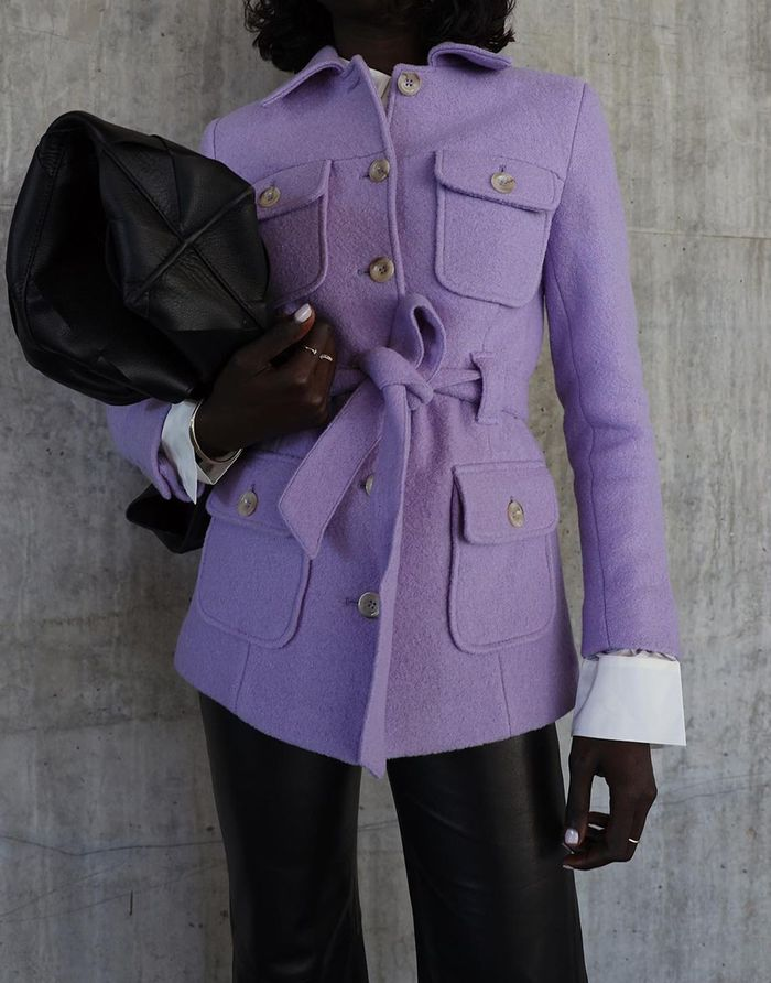 & Other Stories lilac jacket and leather trousers: