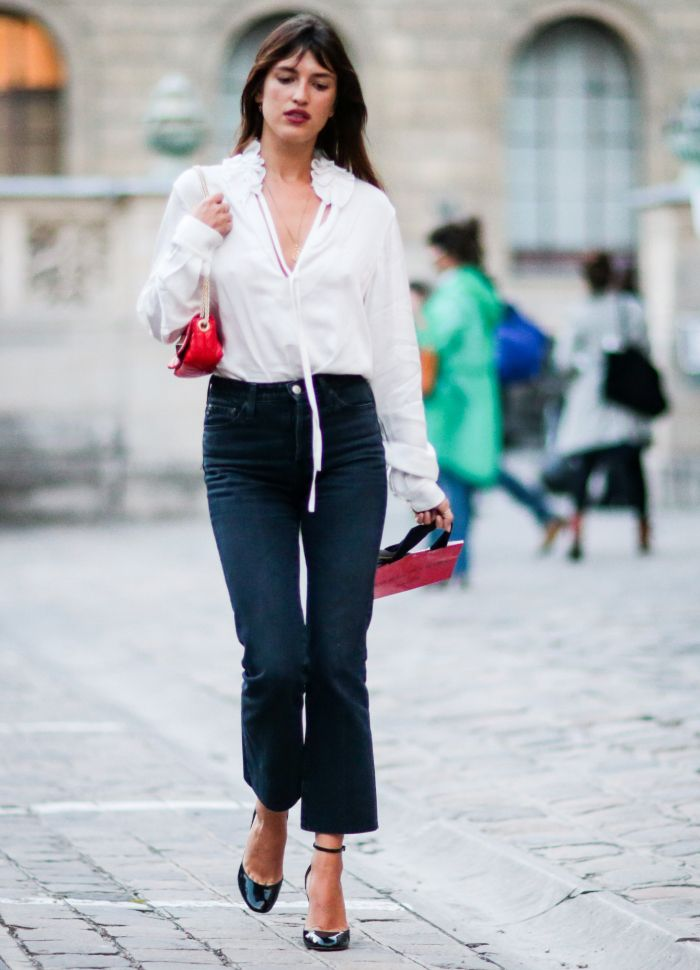 Jacquemus shirt: Jeanne Damas wearing a white shirt