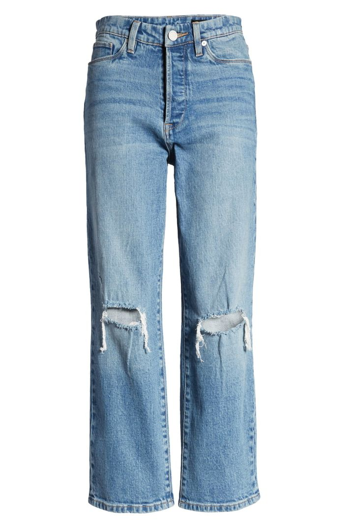 BlankNYC Baxter Ripped High Waist Wide Leg Jeans