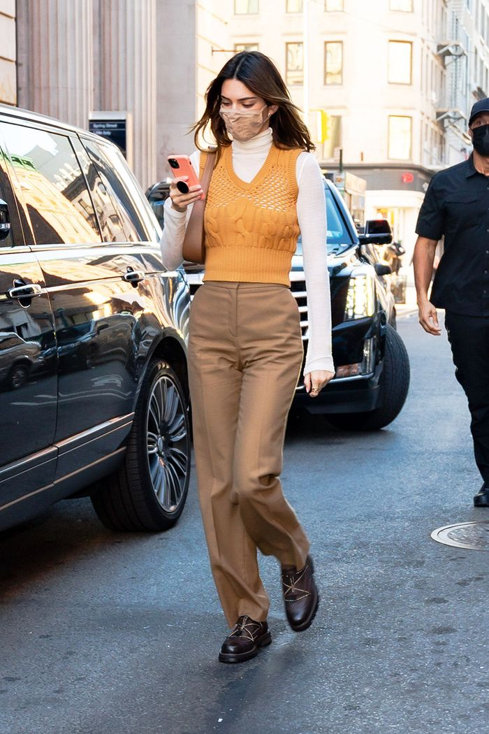 Kendall Jenner sweater vest in NYC