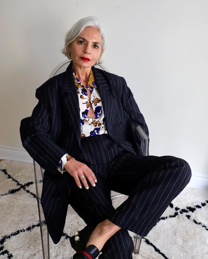 Ageless Style: @greceghanem wears pinstripes